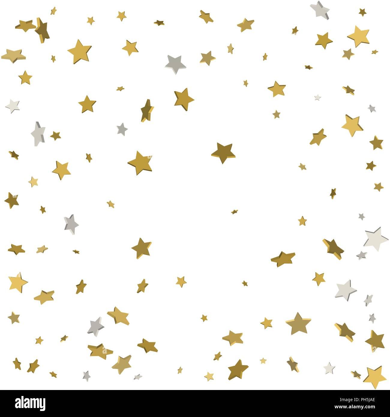 Gold flying stars confetti magic christmas frame vector, premium ...
