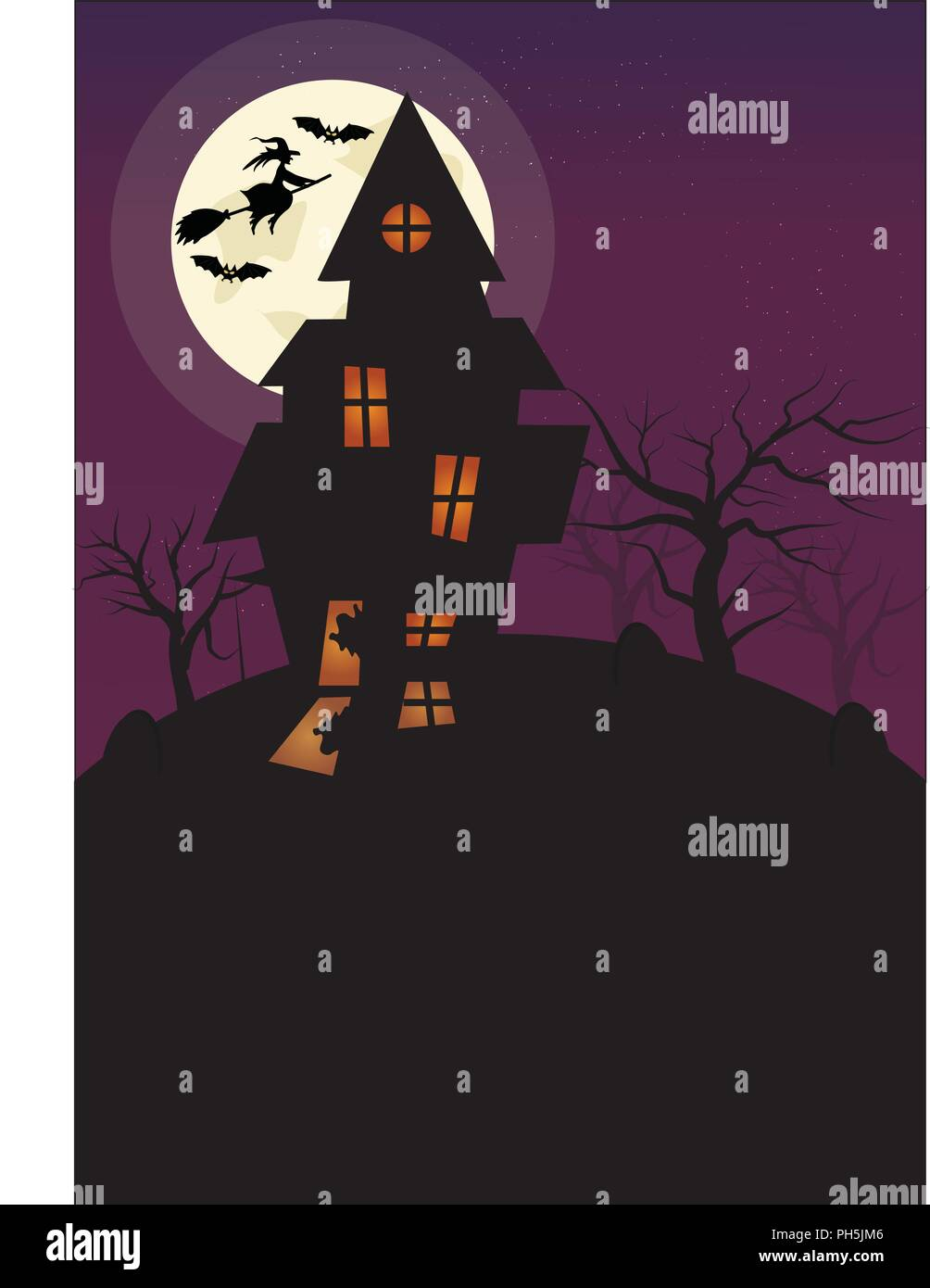 Halloween Vertical Background With Witch Bats Haunted House And
