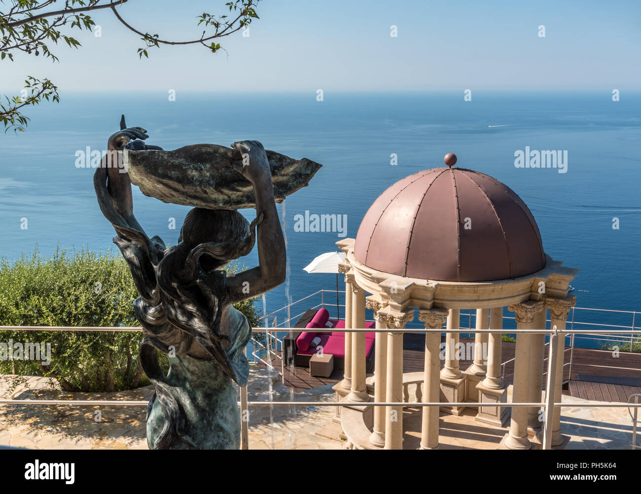 View from Château de la Chèvre d'Or over the Mediterranean - Stock Image