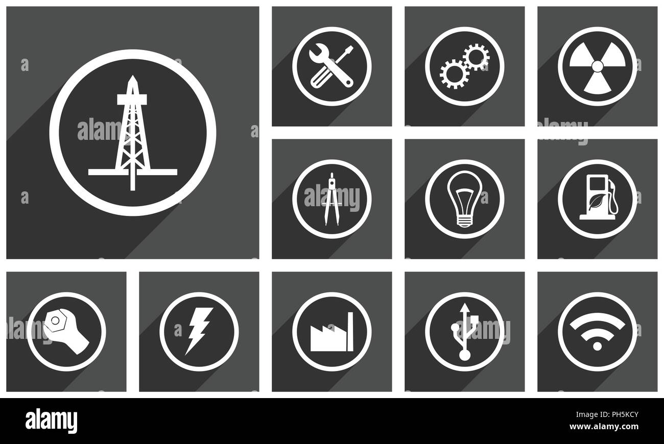 Technology vector icons tools gears radiation design light bulb bolt industry usb wireless communication symbols in eps 10 - Stock Vector