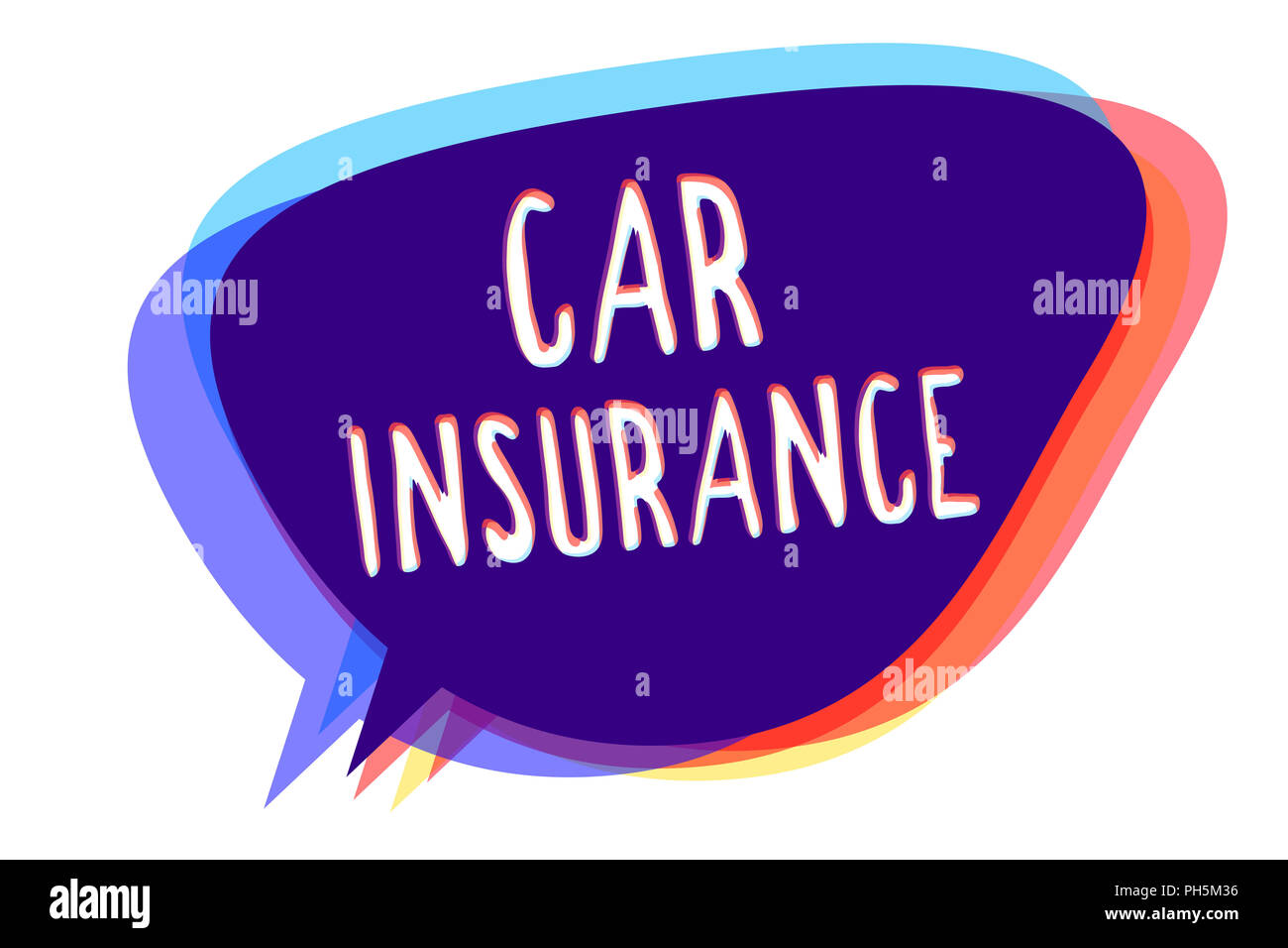 Conceptual hand writing showing Car Insurance. Business photo text Accidents coverage Comprehensive Policy Motor Vehicle Guaranty Speech bubble idea m Stock Photo