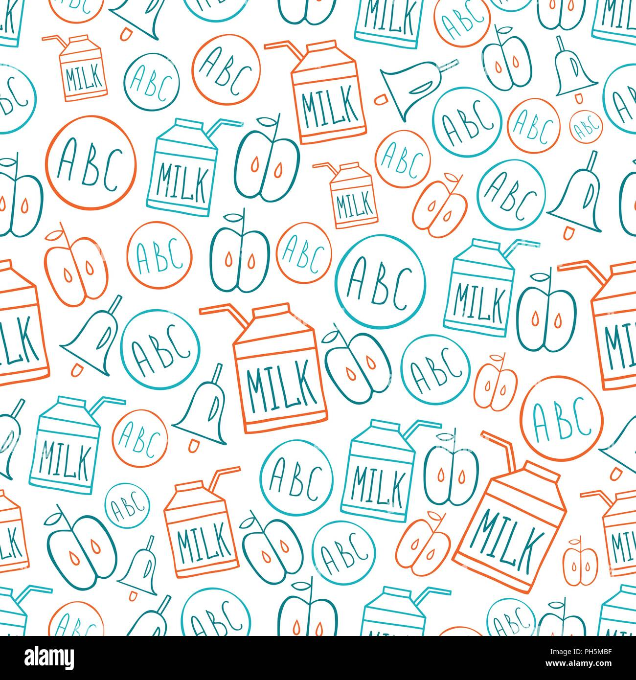 Back To School Seamless Pattern With Symbols Alphabet Milk Pack Bell