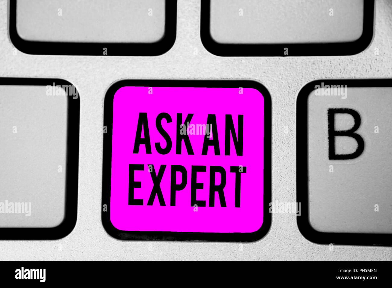 135084893883 Conceptual hand writing showing Ask An Expert. Business photo text Superior  Reliable Ace Virtuoso Curiosity Authority Geek Keyboard purple key Intenti
