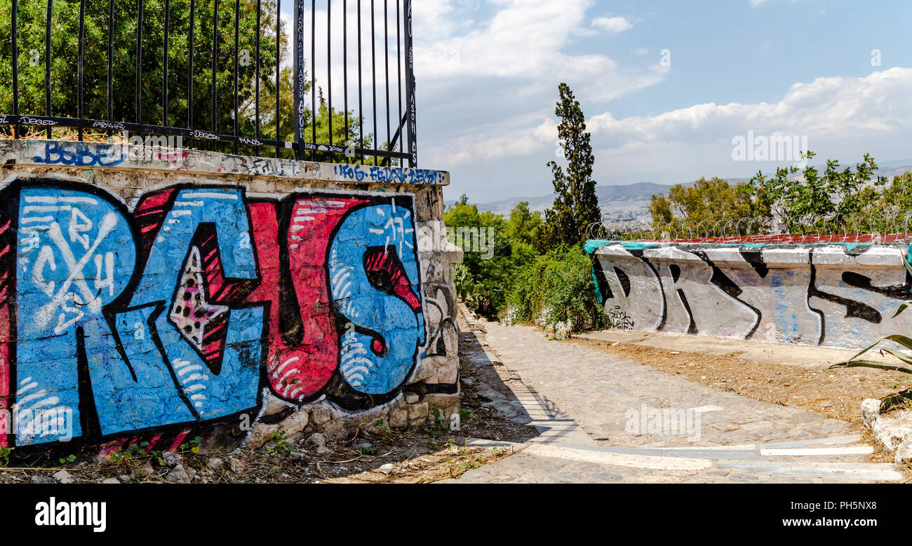 Graffiti in Athens, Greece - Stock Image