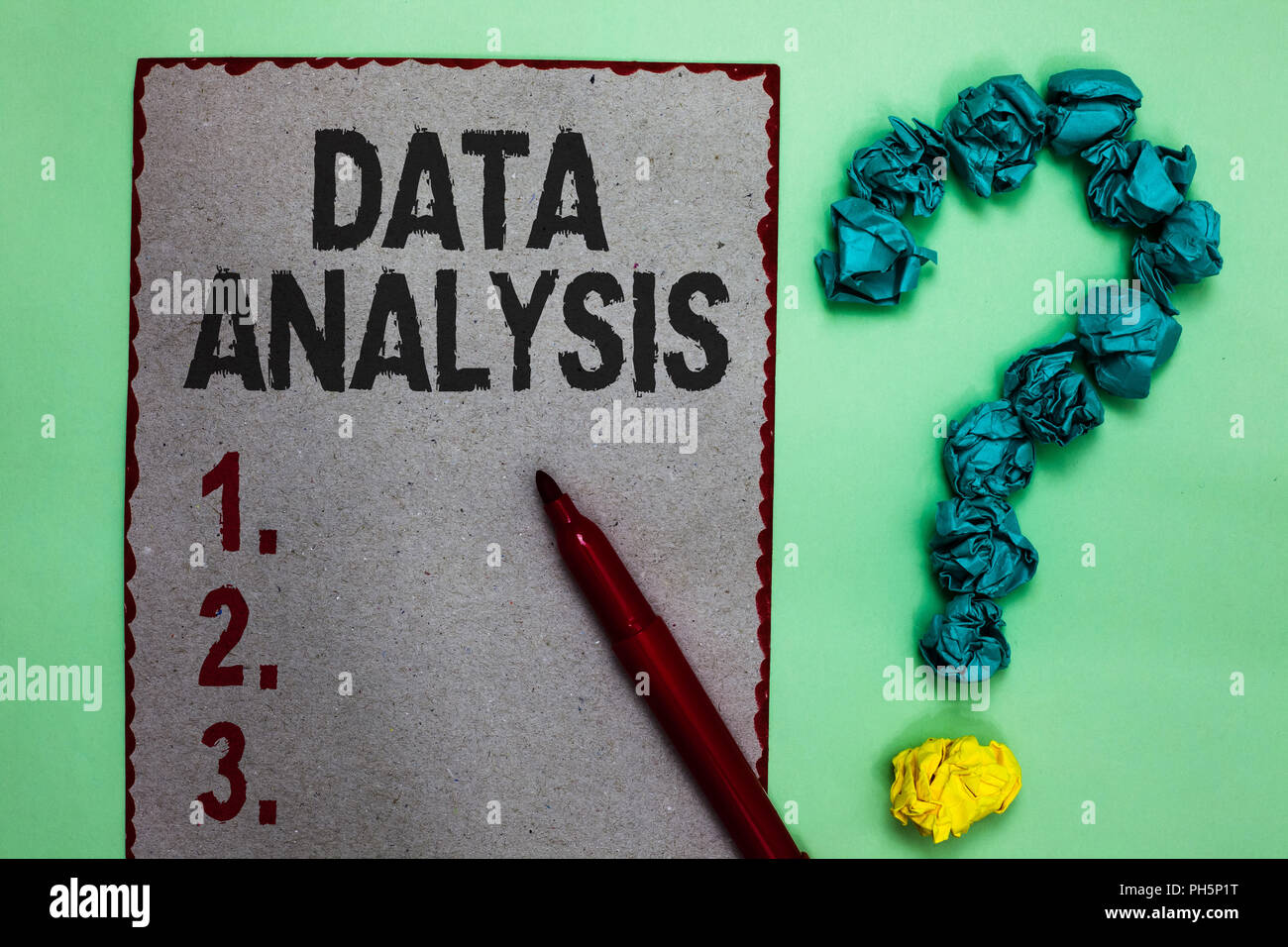 Handwriting text writing Data Analysis. Concept meaning Translate numbers to Analytical Conclusion Forecasting Gray paper marker crumpled papers formi - Stock Image