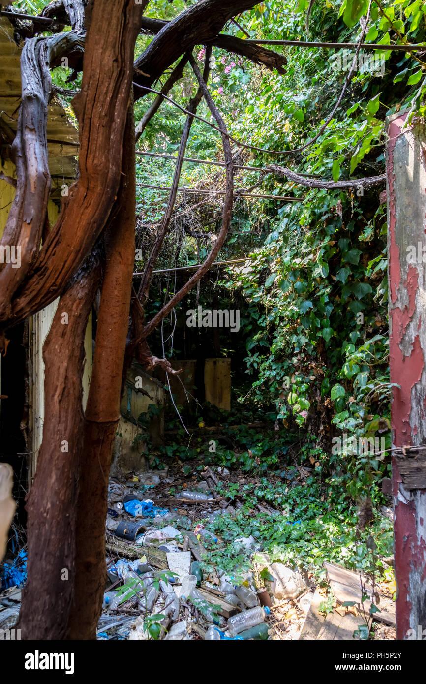 Abandoned House, Athens, Greece - Stock Image
