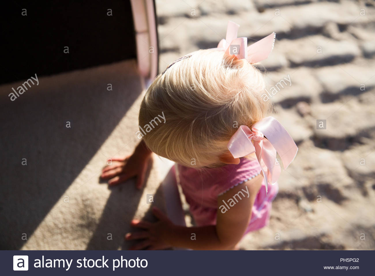 High angle view of a girl in a van - Stock Image