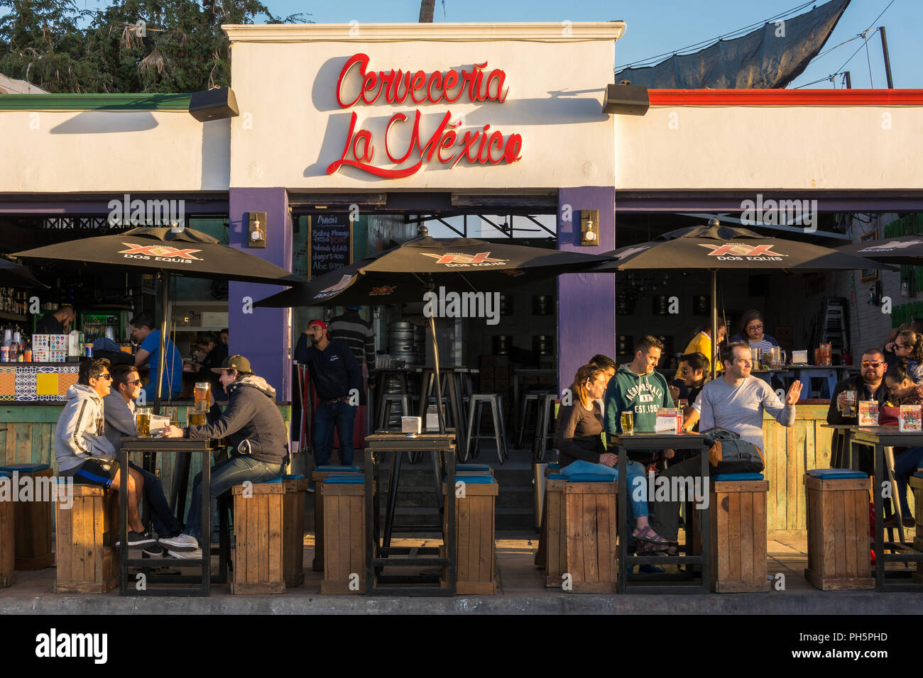 Cerveceria La Mexico bar in La Paz, Baja California Sur, Mexico. - Stock Image