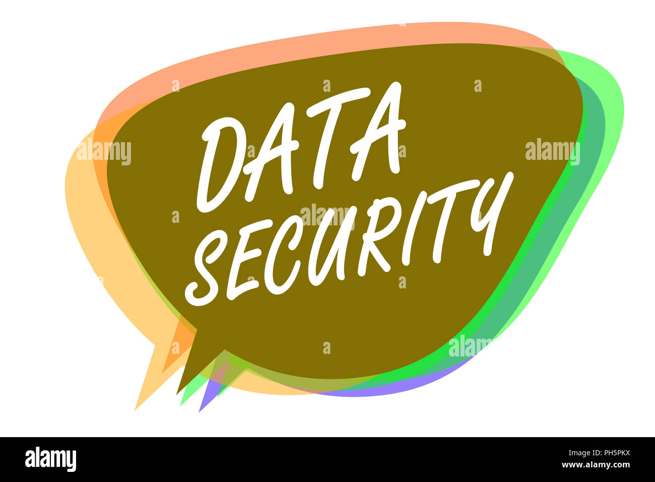 Word writing text Data Security. Business concept for Confidentiality Disk Encryption Backups Password Shielding Speech bubble idea message reminder s Stock Photo