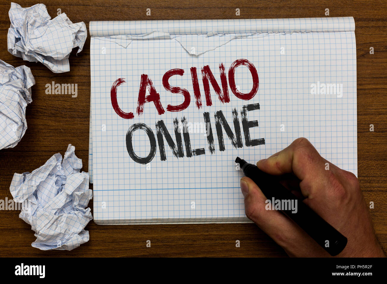 Handwriting text Casino Online  Concept meaning Computer Poker Game