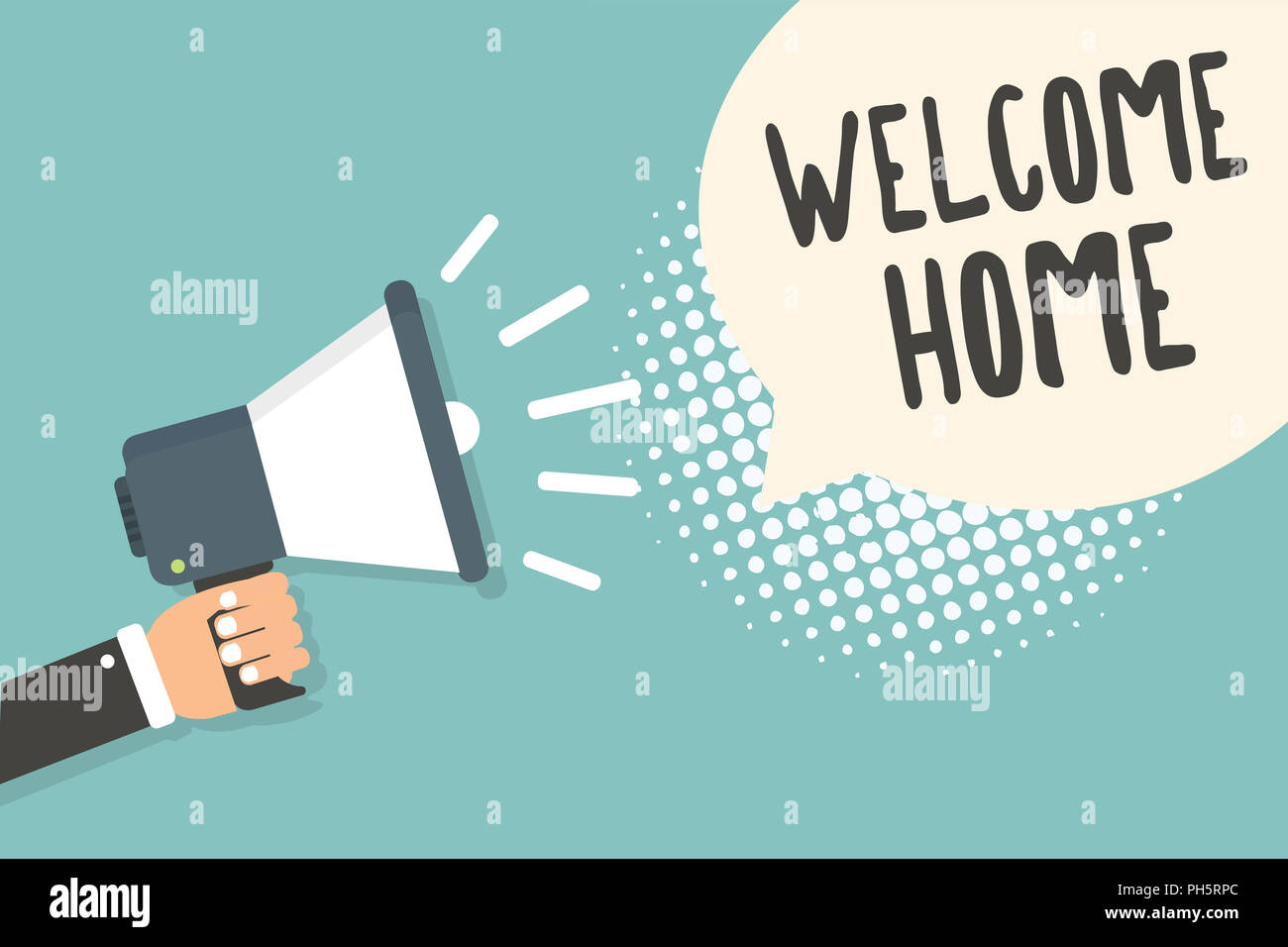 Handwriting text welcome home concept meaning expression greetings handwriting text welcome home concept meaning expression greetings new owners domicile doormat entry man holding megaphone loudspeaker speech bubble m4hsunfo
