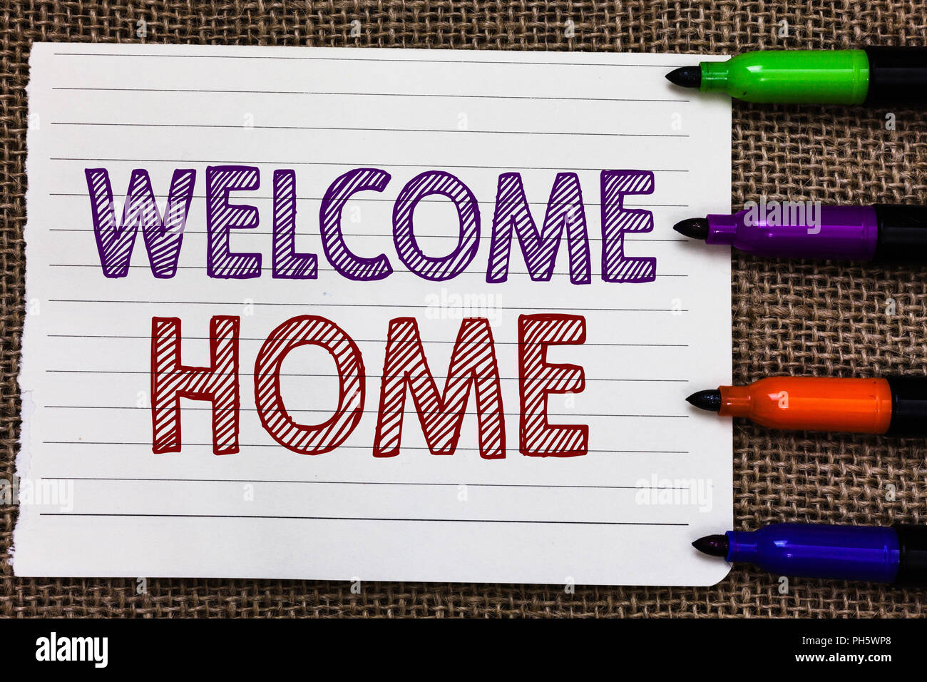 Conceptual hand writing showing welcome home business photo conceptual hand writing showing welcome home business photo showcasing expression greetings new owners domicile doormat entry notebook paper importan m4hsunfo