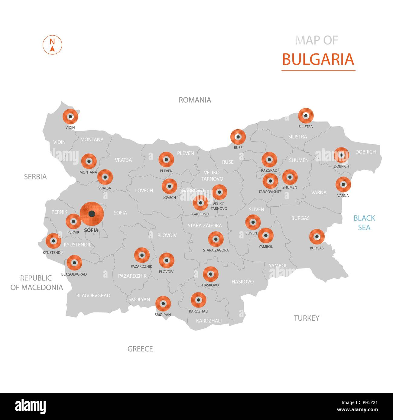 Stylized vector Bulgaria map showing big cities, capital Sofia, administrative divisions. Stock Vector