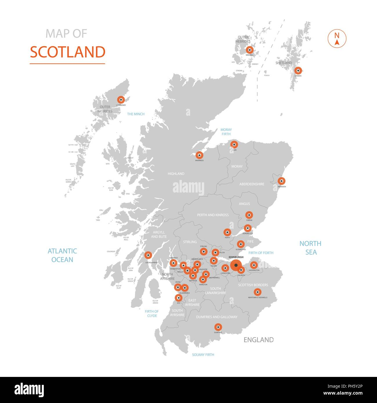 Stylized Vector Scotland Map Showing Big Cities Capital Edinburgh