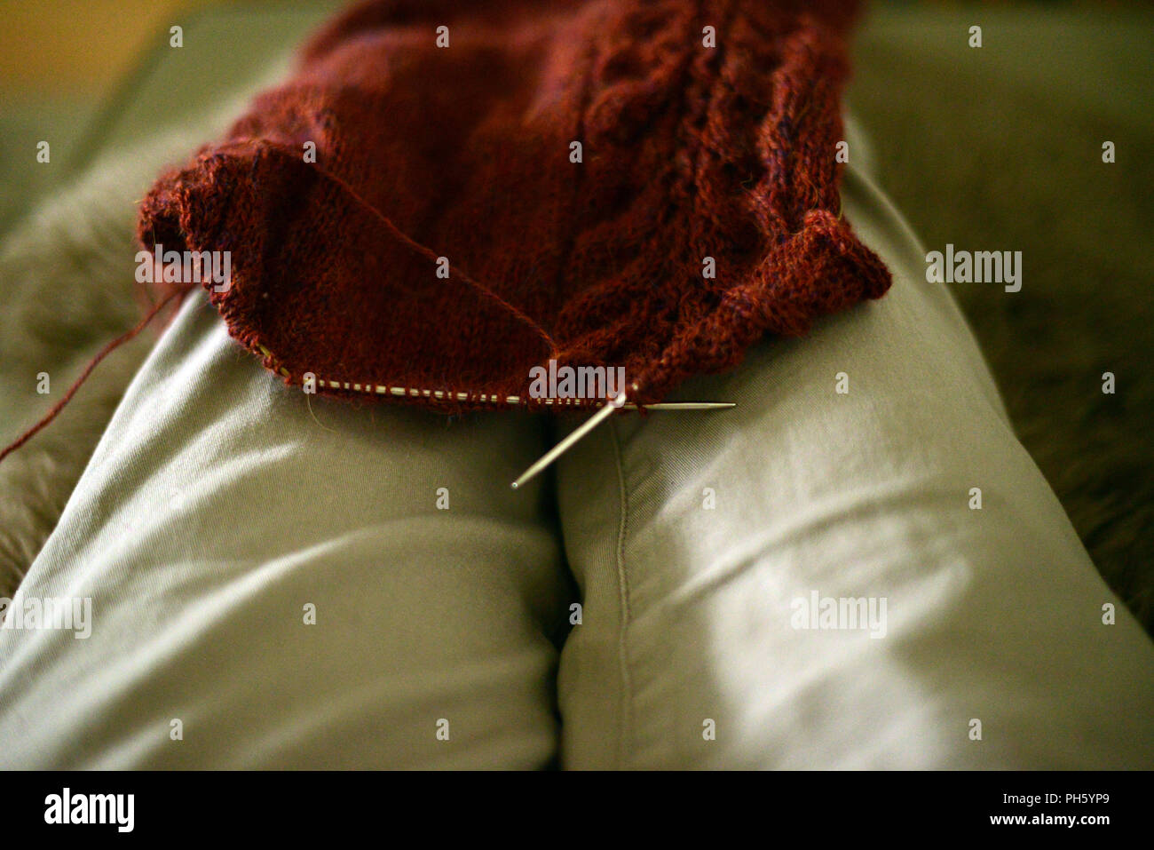 knitting brown wool cardigan, work in progress, from a personal point of view - Stock Image