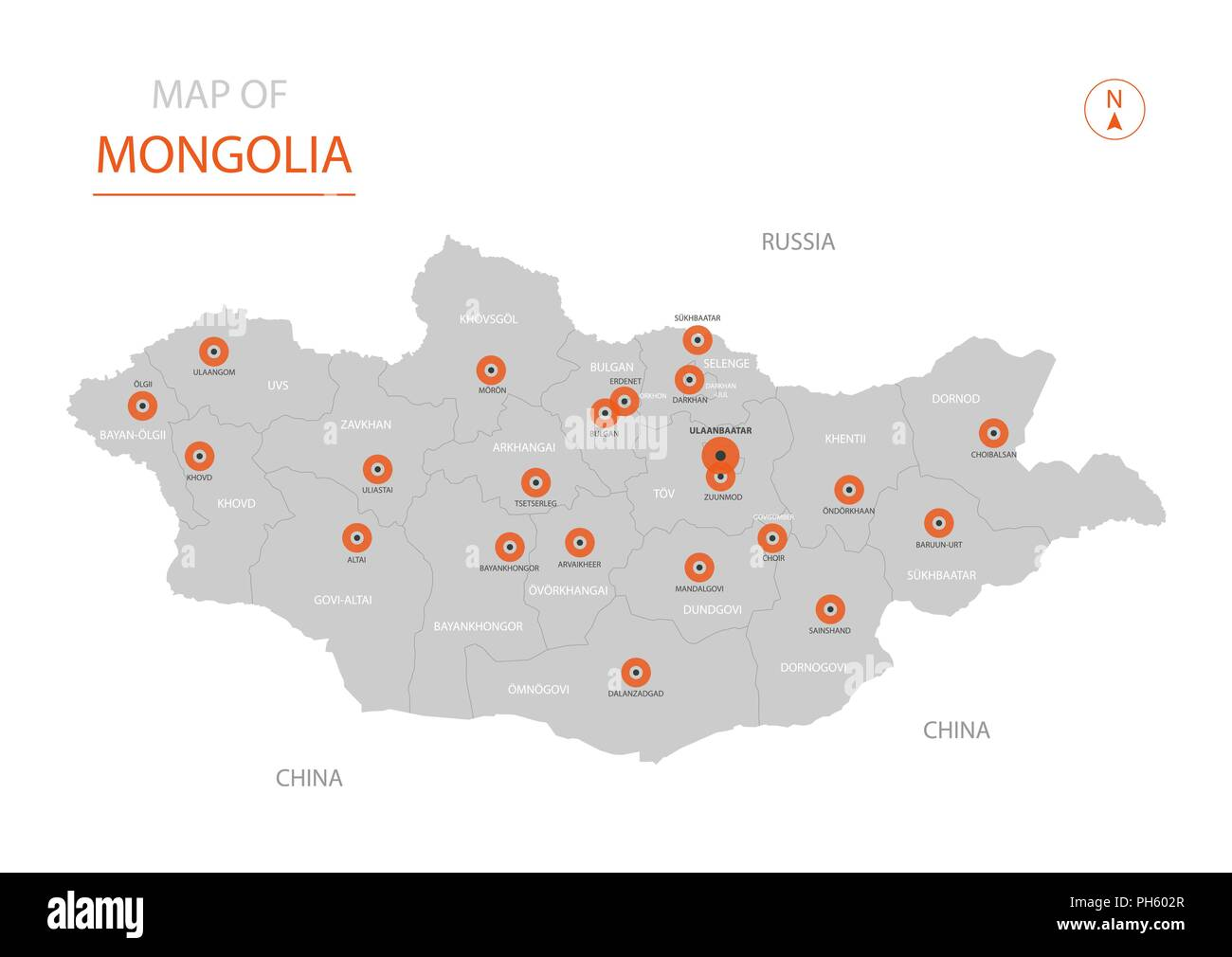 Stylized vector Mongolia map showing big cities, capital Ulaanbaatar, administrative divisions. - Stock Image