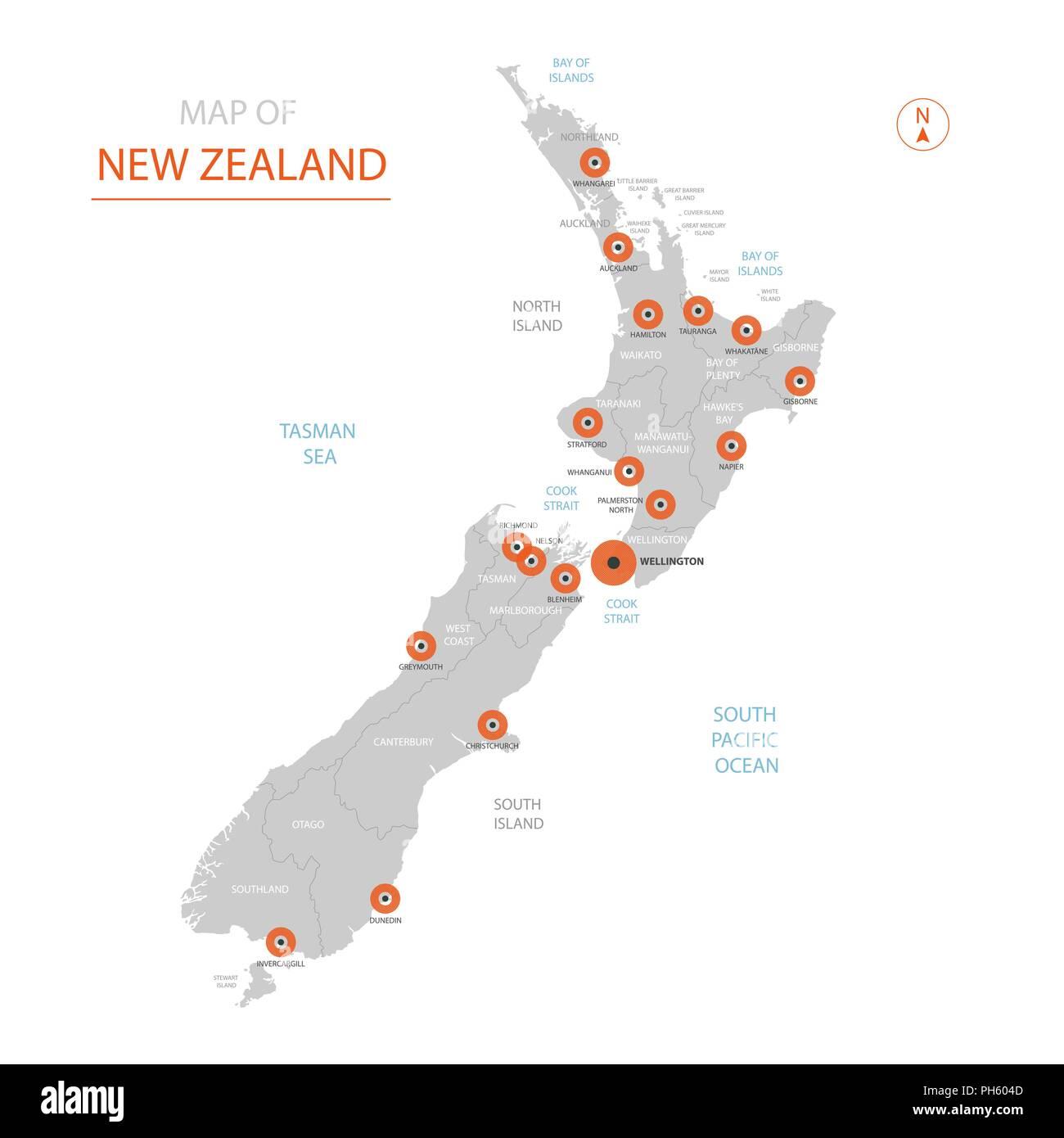 Wellington New Zealand Map.Stylized Vector New Zealand Map Showing Big Cities Capital