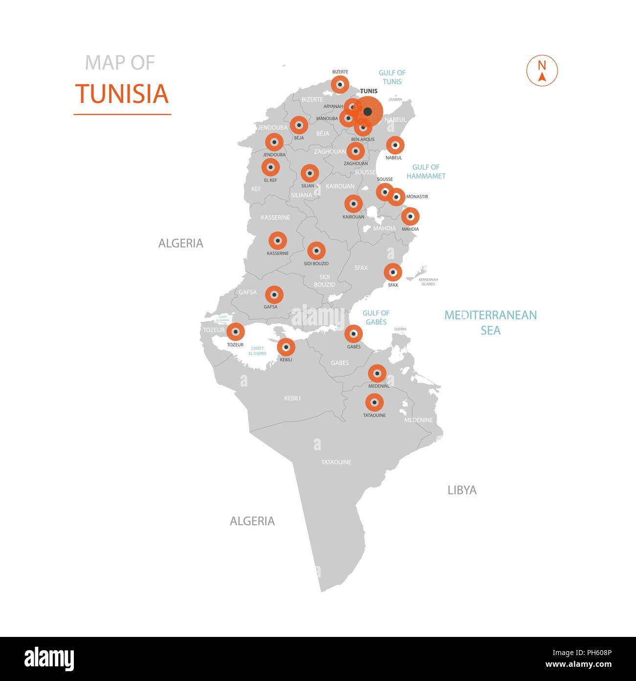 Stylized vector Tunisia map showing big cities, capital Tunis ...