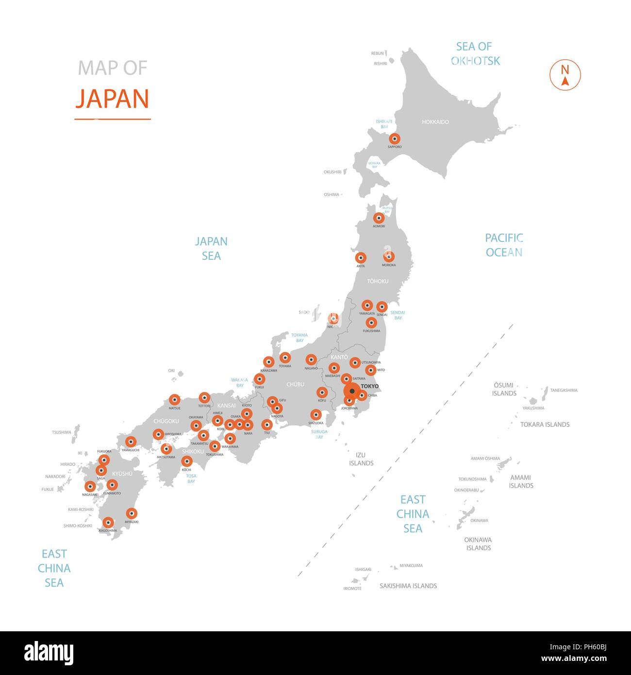 Stylized Vector Japan Map Showing Big Cities Capital Tokyo