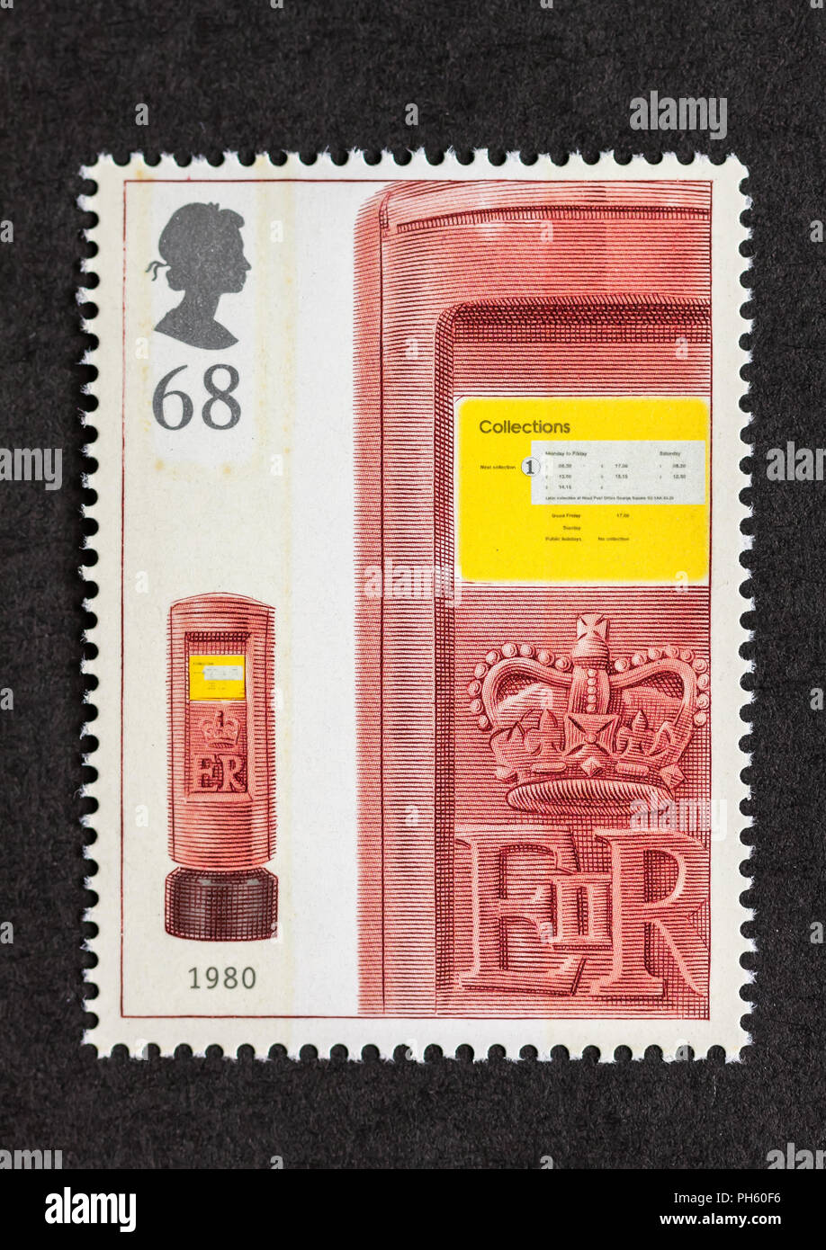 Royal Mail stamp features post box - Stock Image