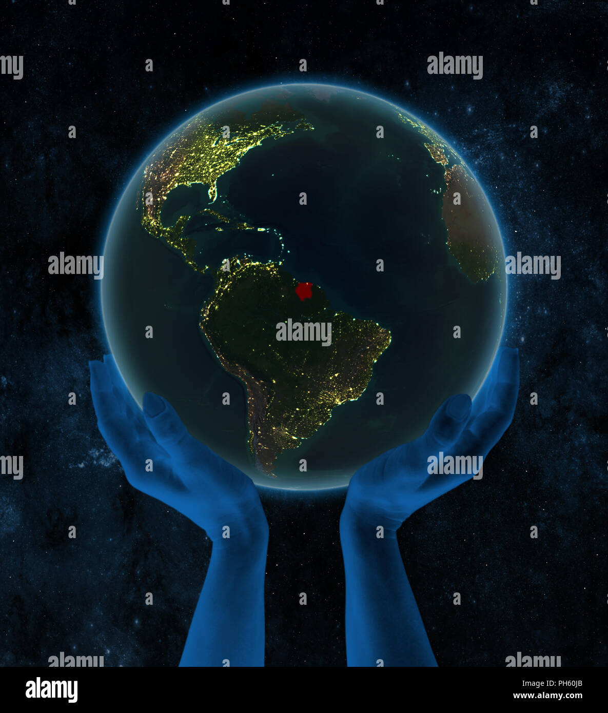 Suriname on night Earth in hands in space. 3D illustration. - Stock Image