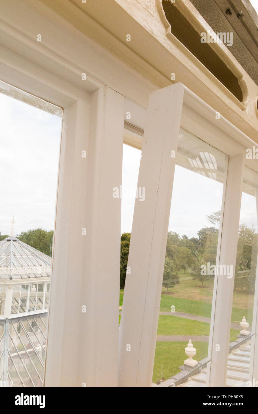 New glazing wooden / wood / timber replacement glazed windows in the restored Victorian Temperate House at the Royal Botanic Garden, Kew. London. UK - Stock Image