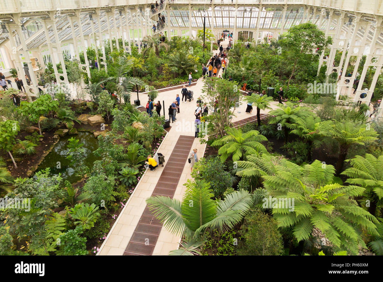 View from the balcony of the restored / after the 2018 restoration of Victorian Temperate House at the Royal Botanic Garden, Kew. London. UK. (101) - Stock Image