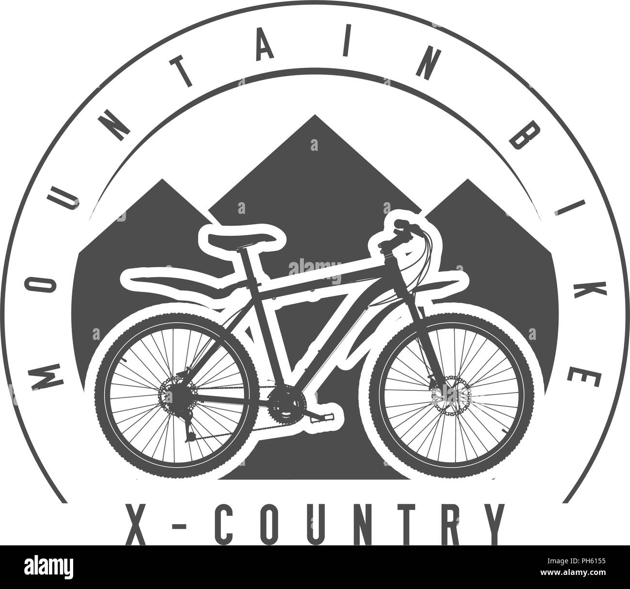 Mountain Bike, Cross-Country Emblem or Badge. Monochrome Vector Illustration. Cross-Country Bicycle Detailed Silhouette. - Stock Image