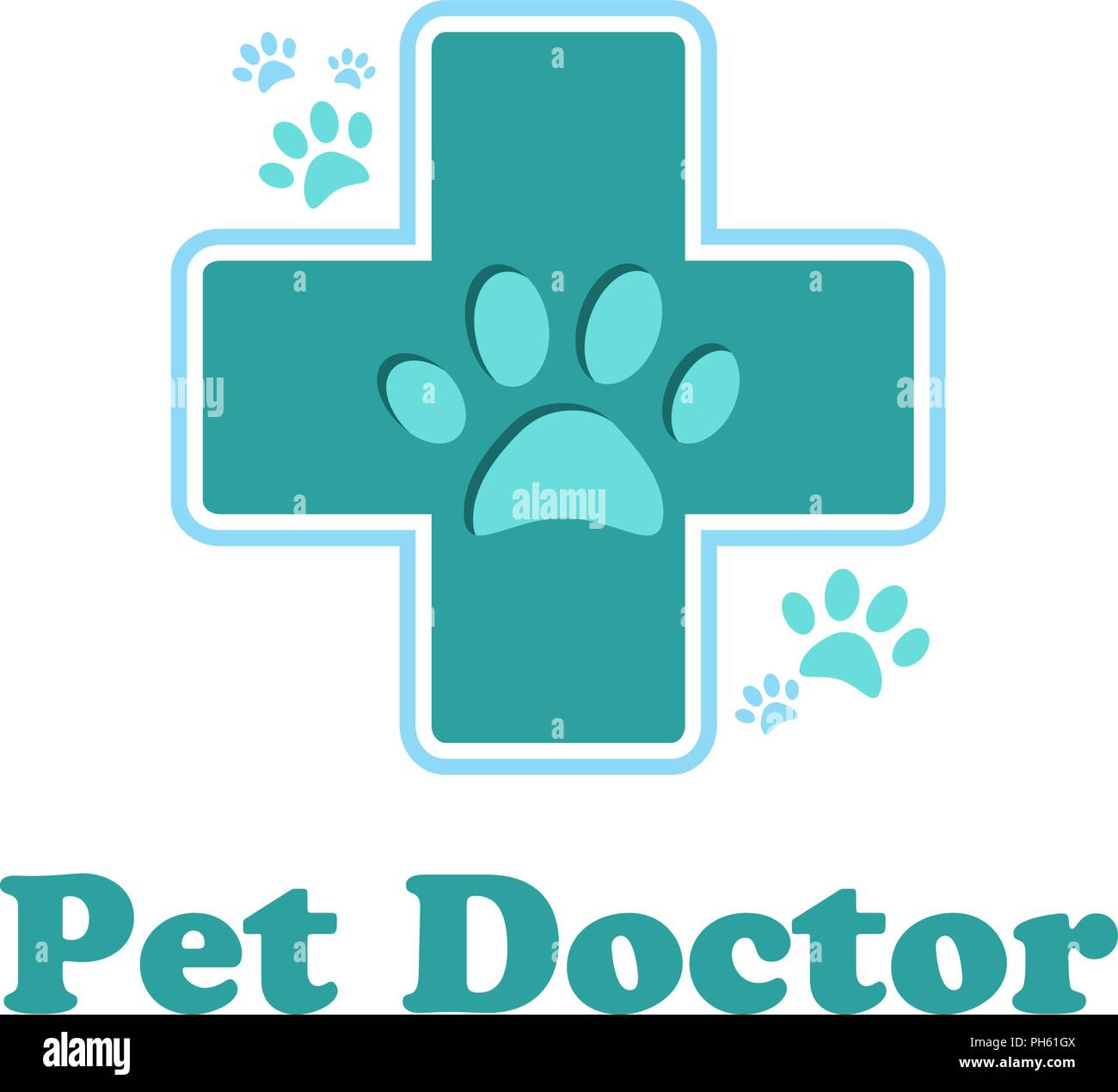 The logo of the pharmacy for the animals, cross green color isol - Stock Image