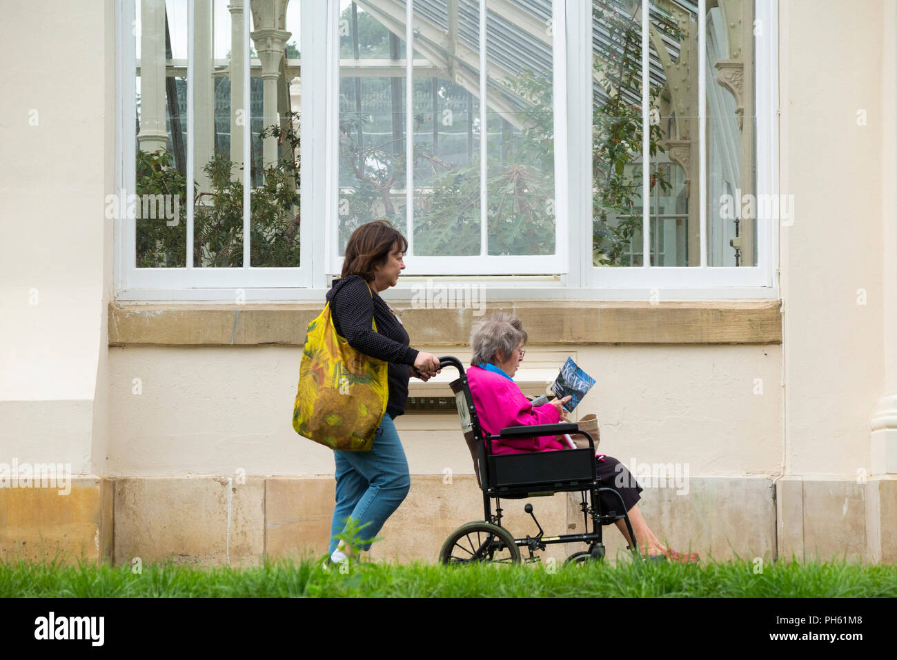 Visitors beside new glazing wooden / wood / timber replacement glazed windows in the restored Victorian Temperate House. Royal Botanic Garden, Kew. London. UK - Stock Image