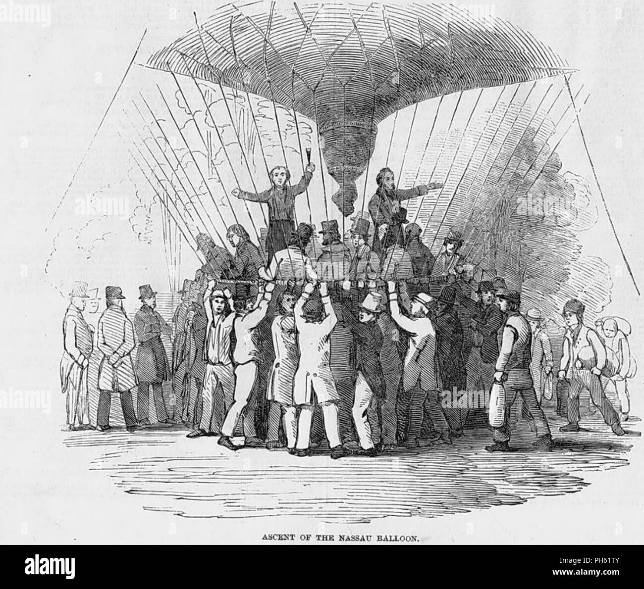 CHARLES GREEN (1785-1870) English balloonist. Launching of his of his balloon The Great Nassau from Vauxhall Gardens, London, 24 July 1836 - Stock Image