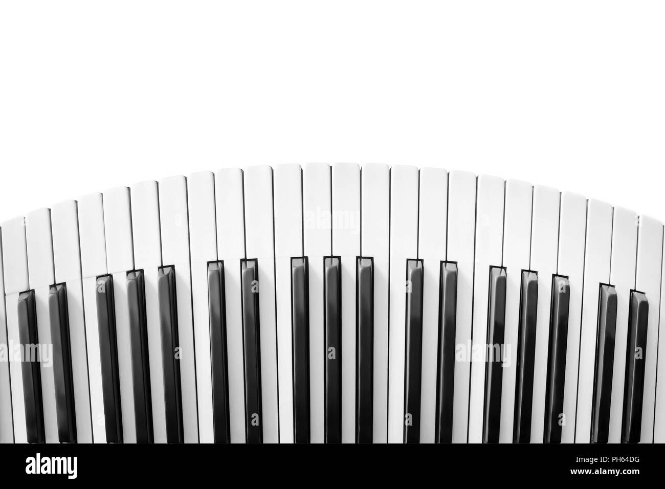 Old piano keyboard distorted and isolated on white - Stock Image