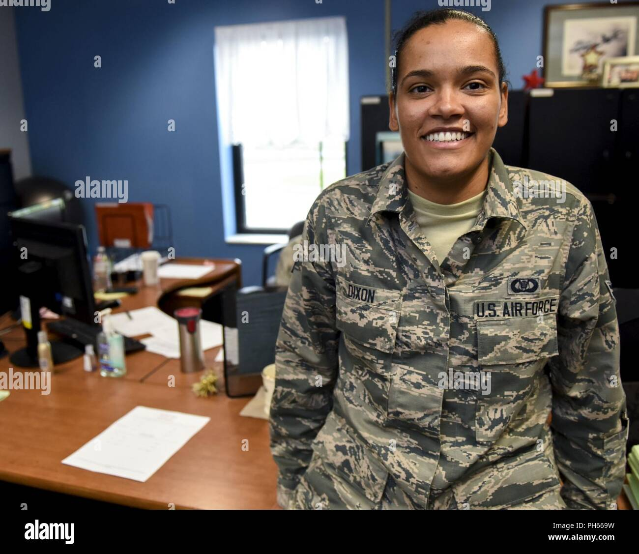 Aviation Resource Management Apprentice Airman 1st Class Carlisa Dixon is a drill status Guardsman celebrating her one year anniversary in the Air National Guard today, June 27, 2018. When Dixon is not assigned to the 171st Air Refueling Wing Operations Support Squadron, she works as a substitute teacher with Steel Valley High School. She attended college on multiple full scholarships for basketball at California University of Pennsylvania and Slippery Rock University where she graduated with an associates degree in Liberal Arts and a Bachelors in Science. Stock Photo