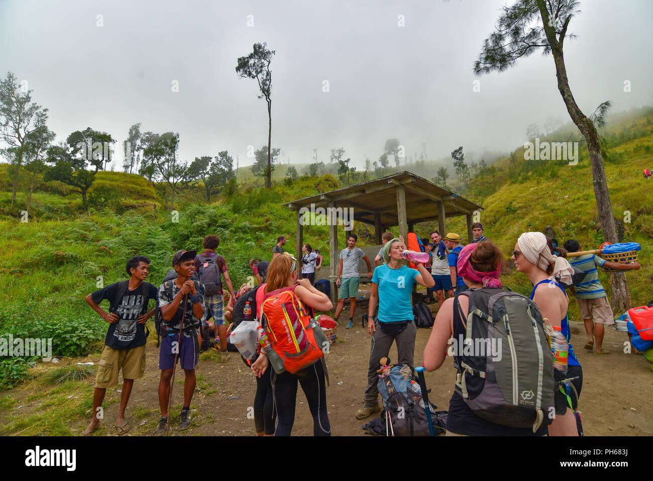 Hiking and Trekking at Mount Rinjani, Lombok, Indonesia - Stock Image