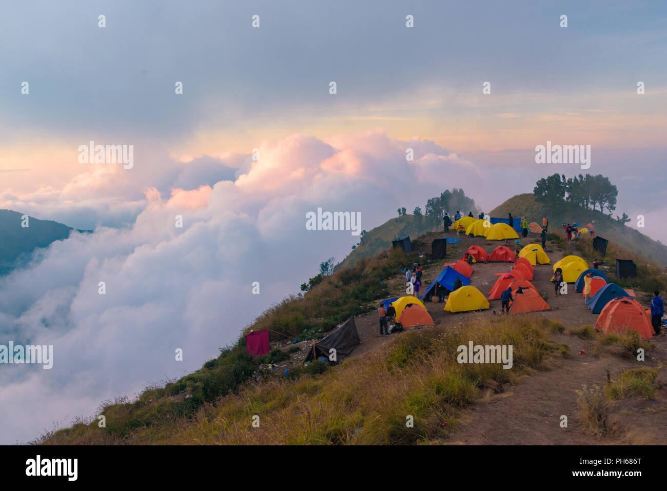 Hikers camping on Mount Rinjani, Lombok, Indonesia - Stock Image