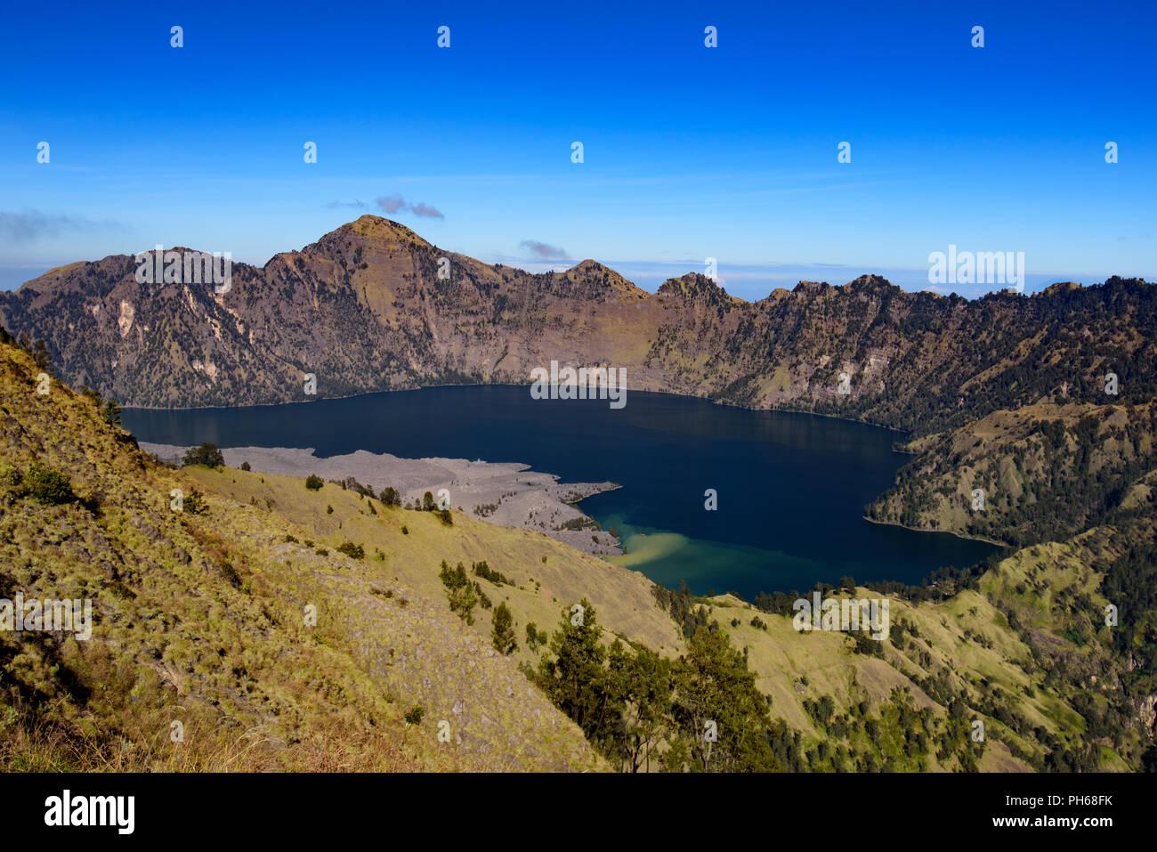 Crater Lake of Rinjani Volcano, Lombok, Indonesia - Stock Image