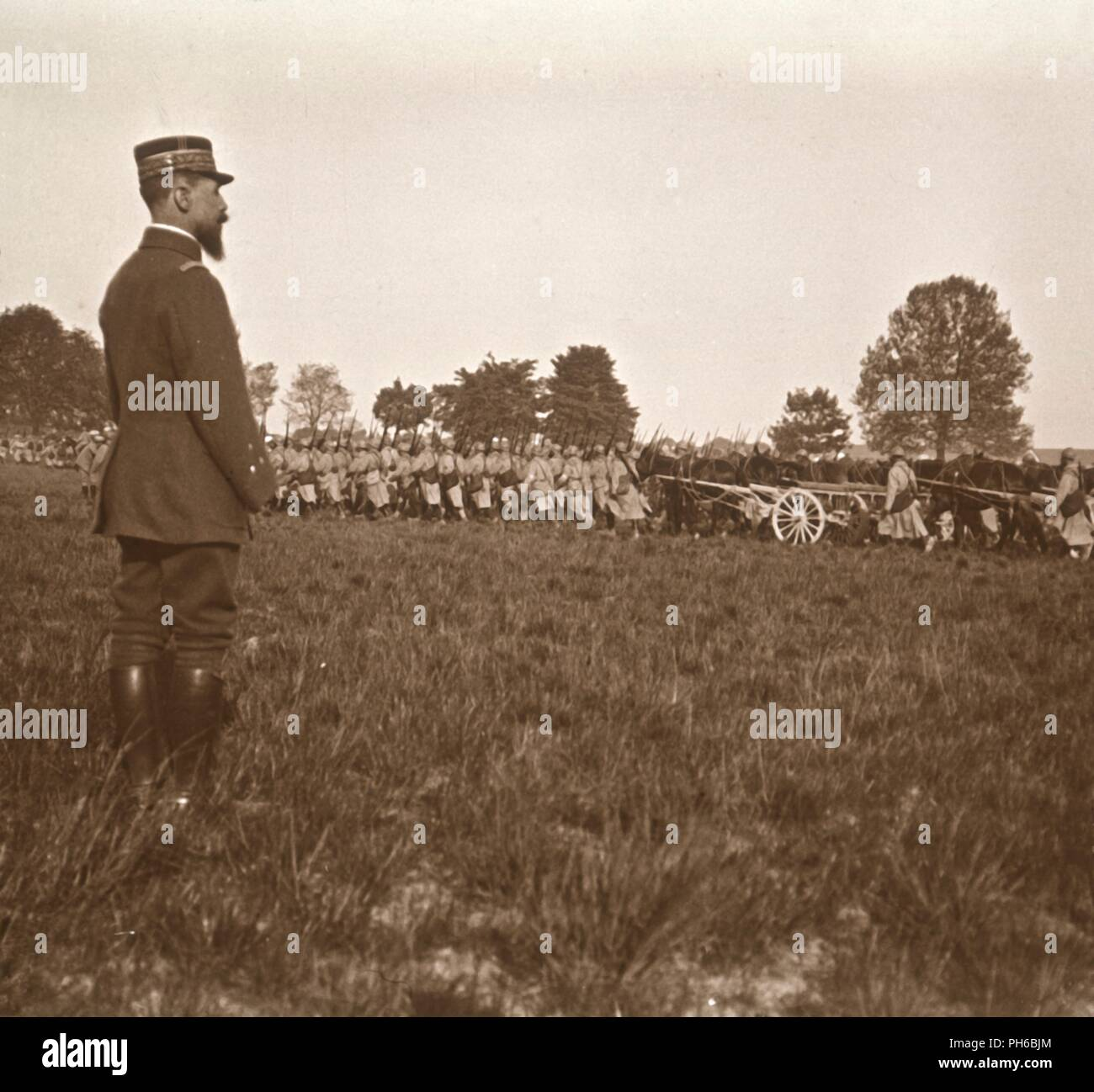 General Henri Gouraud, Champagne, northern France, c1914-c1918. French general Henri Joseph Eugène Gouraud (1867-1946), best known for his leadership of the French Fourth Army at the end of the First World War. Photograph from a series of glass plate stereoview images depicting scenes from World War I (1914-1918). - Stock Image