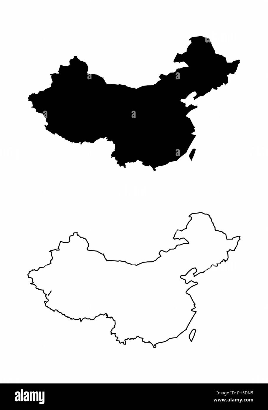 Simplified maps of China. Black and white outlines. - Stock Vector