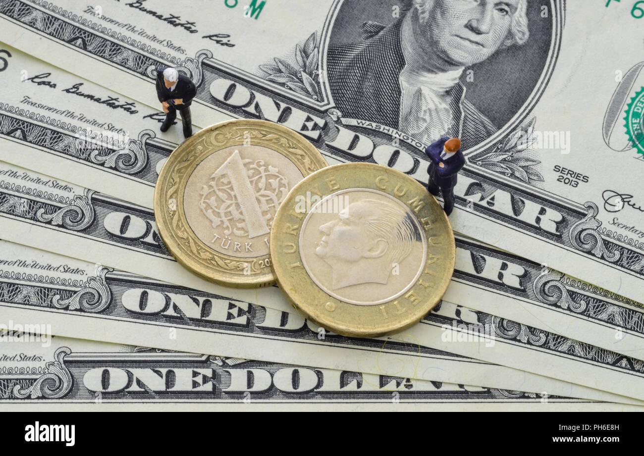 Us Dollar Tuerkische Lira Muenzen Stock Photo 217116497 Alamy