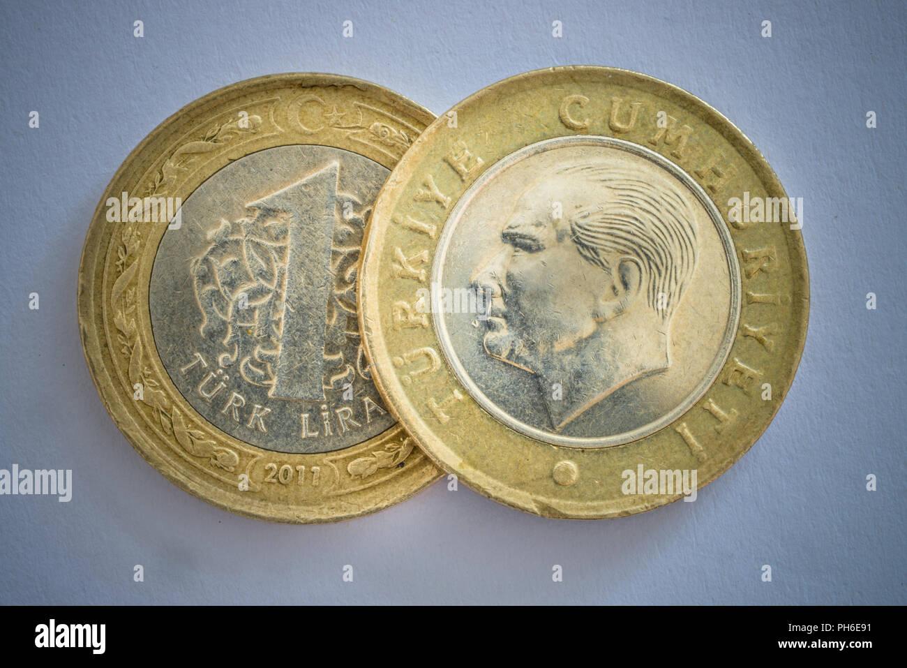 Tuerkische Lira Muenzen Stock Photo 217116509 Alamy