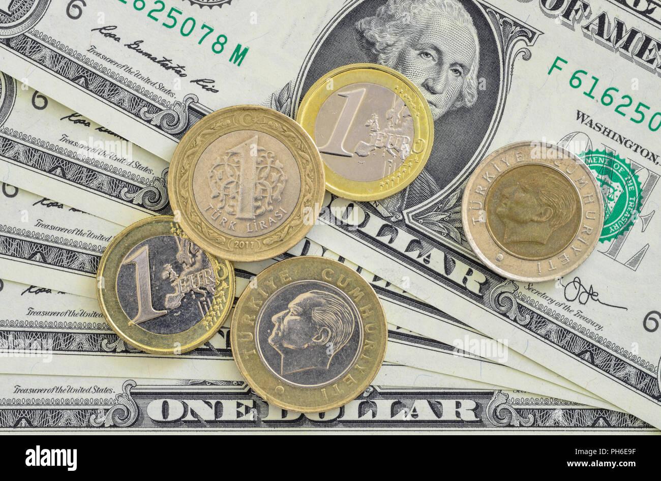 Us Dollar Tuerkische Lira Muenzen Euromuenzen Stock Photo