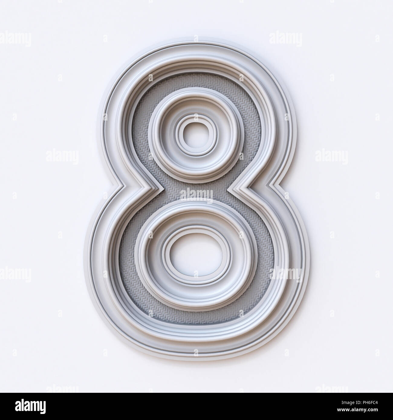 White picture frame font Number 8 EIGHT 3D rendering illustration ...