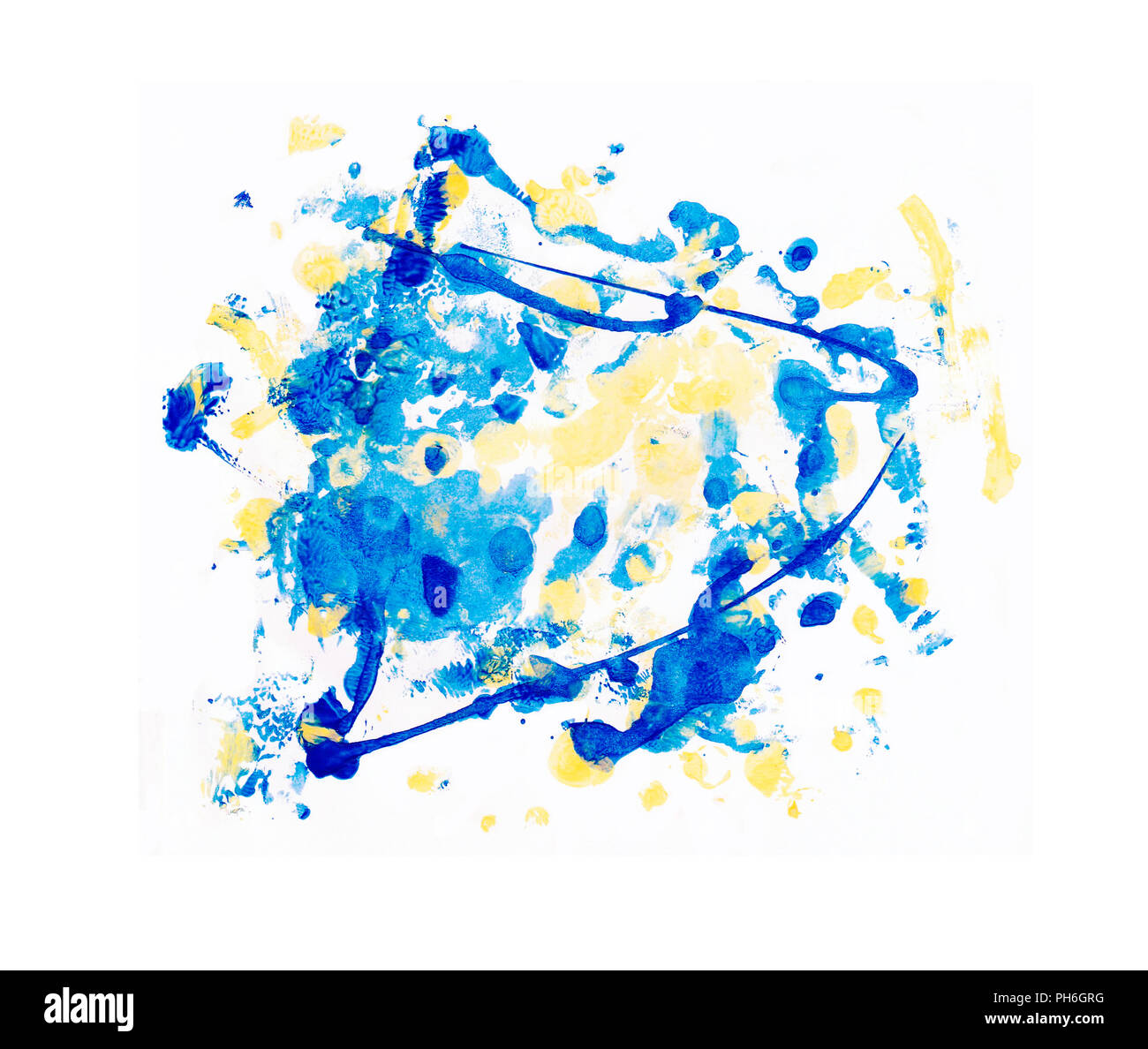colored blue and yellow drops drops drops, for decoration, paint paint stains, thick ink strips - Stock Image