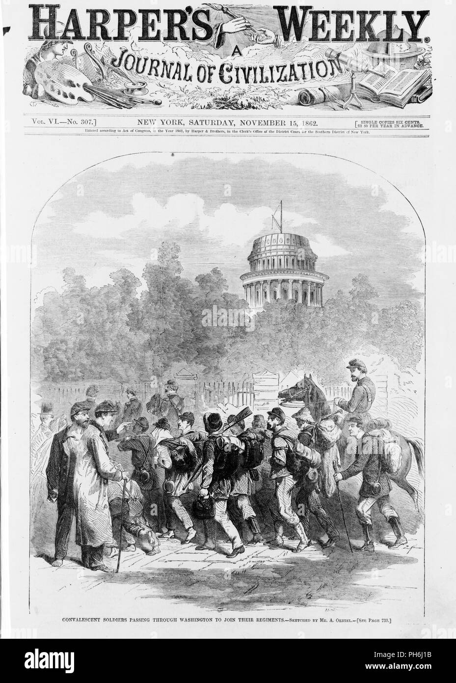 From Harper's Weekly, November 15, 1862. The 2nd Battle of Manassas occurred in 1862, from which the Union retreated to Washington, D.C. and the Capitol became a hospital for causalities. Stock Photo