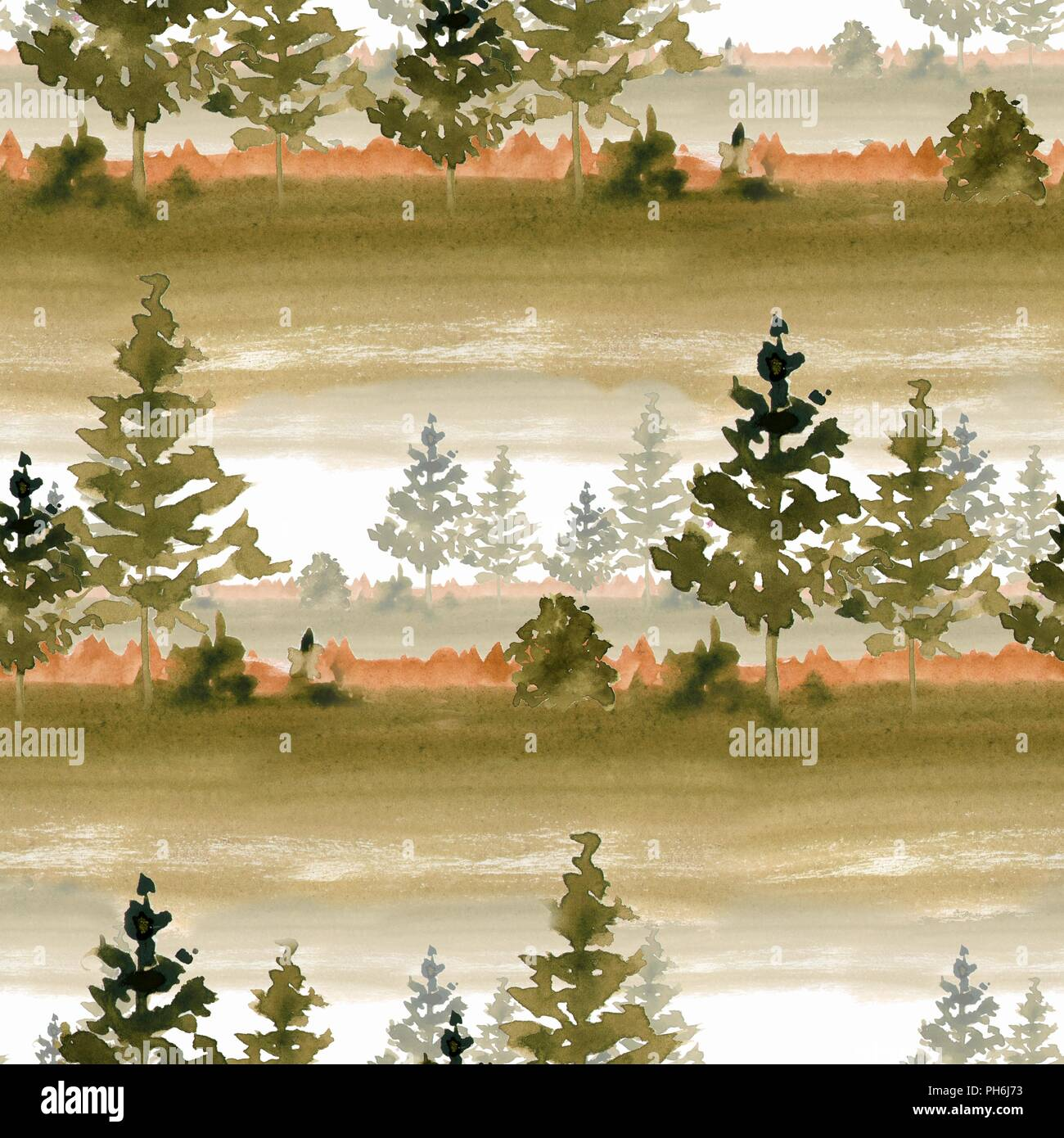 seamless pattern with autumn forest watercolor landscape stock photo alamy https www alamy com seamless pattern with autumn forest watercolor landscape image217119591 html