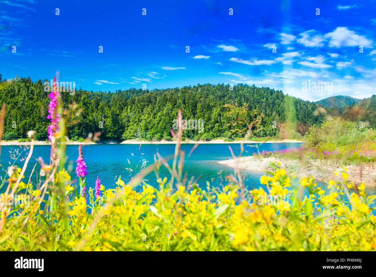 Beautiful blue Lokvarsko lake in colorful mountain landscape, Lokve, Gorski kotar, Croatia Stock Photo