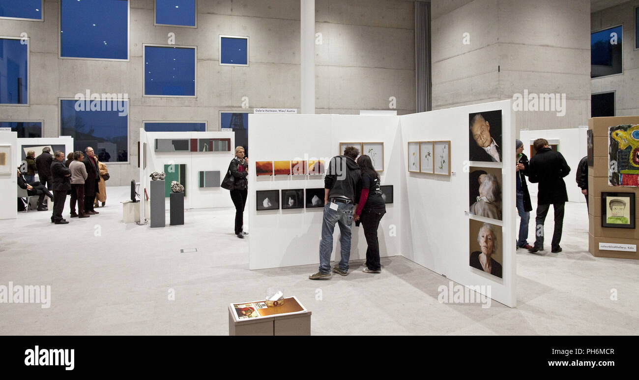 People at an exhibition, Zollverein cube, Essen - Stock Image