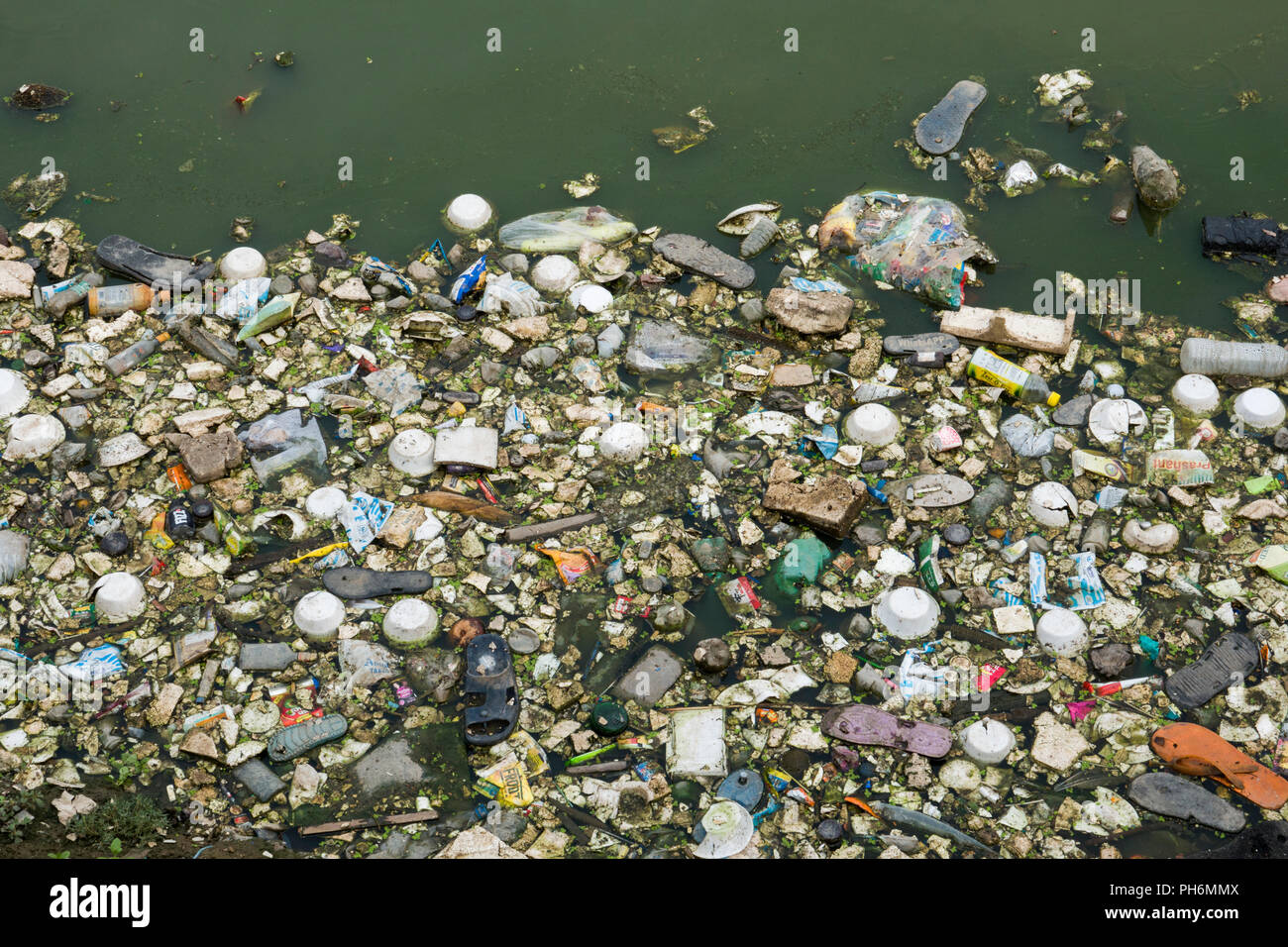 Plastic bags, bottles, polystyrene and other trash contaminates the water of a lagoon in Pushkar, India - Stock Image
