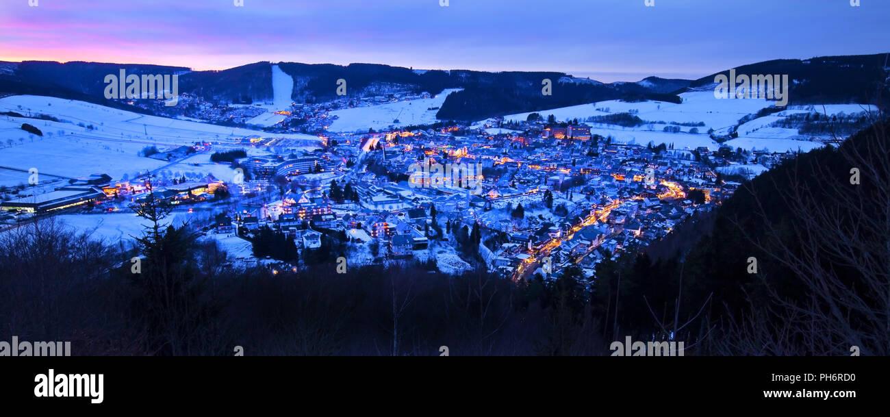 wintry Oerenberg in evening light, Willingen - Stock Image
