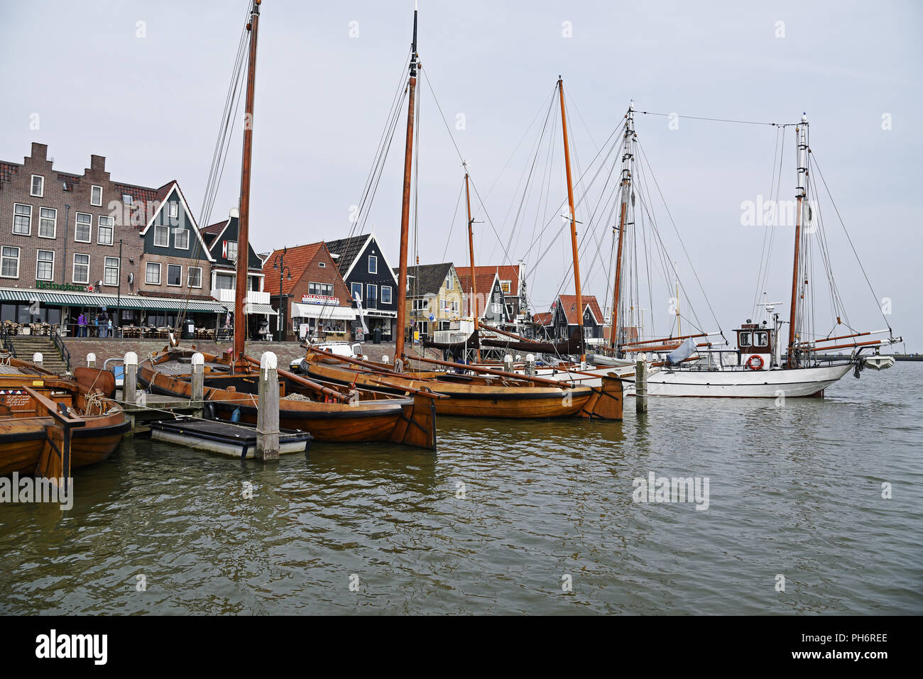 ships, harbour, Volendam, Edam, The Netherlands - Stock Image